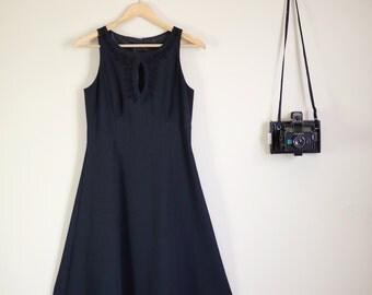 Black + Vintage Dress with Peephole Midi Length Goth A