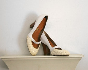 1990s dries van noten white round toe chunky heel pumps with straps size 37 us size 7