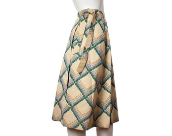 Vintage suede diamond pattern a-line wrap skirt -- 1960s / 70s cowgirl skirt -- size small or xs extra small