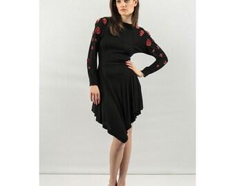 JEAN MUIR / Little black dress / Vintage Sequin dress / Deadstock / Rayon jersey XXS