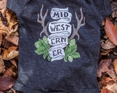 The Midwesterner Black Baby Onesie. Grey Black Baby Jumper Celebrates the Midwest. Made in the USA.