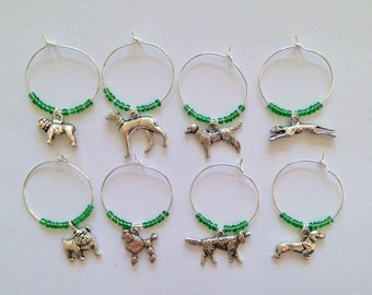 Dog Wine Charms Set: Perfect gift for Dog Owner and Dog Lovers. Dog gift. Set of 4 to Set of 8.