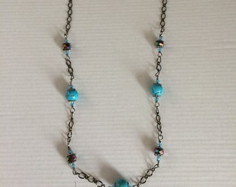 Blackened and Turquoise Colored Necklace 30 inches Long