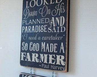 So God Made A Farmer Custom Distressed Wood Sign