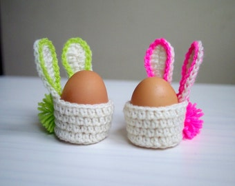 Crochet pattern Easter Bunny egg cozy basket, home table decor, DIY photo tutorial, Instant download