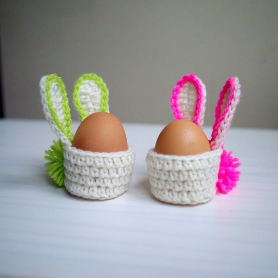 Crochet Egg Basket : Crochet pattern Easter Bunny egg cozy basket, home table decor, DIY ...