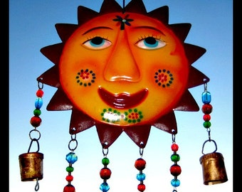 Painted Sun Face Windchime with Stained Glass, Beads & Bells
