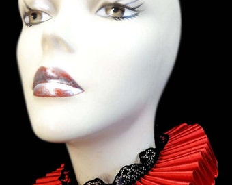 Neck Ruff Ruffled Collar Red Queen Satin And Black Lace Elizabethan Victorian Steampunk Gothic