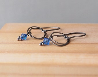 Black and Blue Earrings, Black Silver and Cobalt Blue Earrings, Black Coated Silver Oxidised Finish