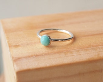Turquoise Ring - Sterling Silver Turquoise Ring - December Birthstone Jewellery - Stacking Silver Turquoise Ring