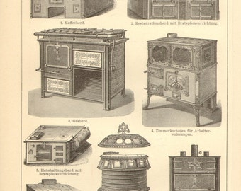 1896 Original Antique Engraving of Old Style Kitchens, Kitchen Stoves, Cooking Stoves and Ovens