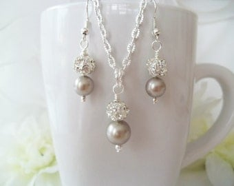 Bridesmaid Jewelry,Platinum Pearl Necklace and Earrings,Champagne Pearl Jewelry Bridesmaid Set Bridesmaid Pearl Necklace Bridesmaid Earrings