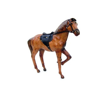 Vintage Horse Figurine Brown Leather Equestrian Art English Saddle Western Ranch Cowboy Standing Chestnut Horse