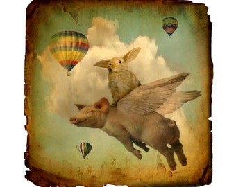 rabbit, collage, mixed media, bunny, pig, stormy, kid's wall art, sepia, cream, teal, woodland, nature, clouds, surreal, fine art print
