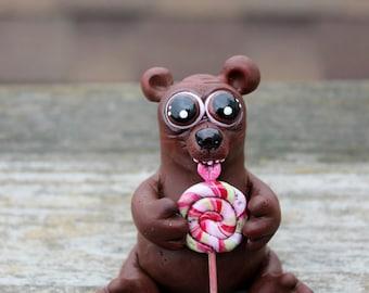 Candy Bear Polymer Clay Sculpture