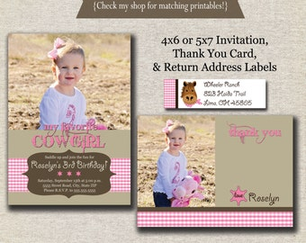 Cowgirl Invitation, Thank You Card, Return Address Labels - pink | Cowgirl Birthday Party Printables | Western Birthday Party Printables