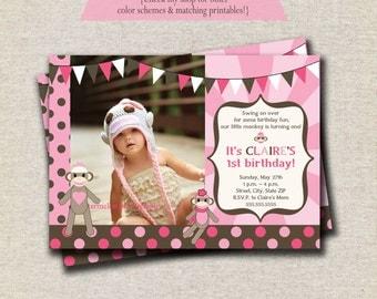 Pink Sock Monkey Invitation   Sock Monkey Invite - pink   Vintage Sock Monkey Party Printables