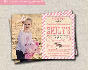 Pony Party Invitation - pink and brown   Vintage Cowgirl Invite   Vintage Cowgirl Baby Shower Invitation   Western Invitation