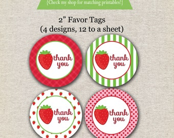 Strawberry Shortcake inspired favor tags, stickers | Strawberry Thank You Tags | Strawberry Gift Tags | INSTANT DOWNLOAD