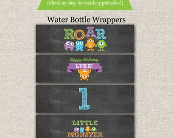 Monsters Water Bottle Labels - chalkboard | Monster Wrappers | Monsters Drink Labels | Little Monsters Birthday Party | digital printable