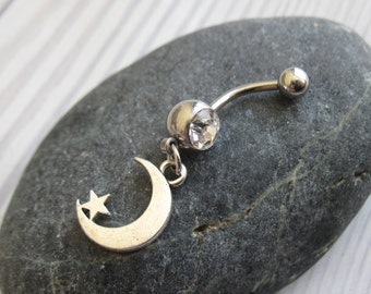 Moon Belly Button Ring - Navel Ring - Belly Ring - Belly Button Jewelry - Navel Jewelry - dangle belly ring - beach jewelry - bellybutton