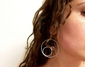 Round Sterling Silver Dangling Earrings