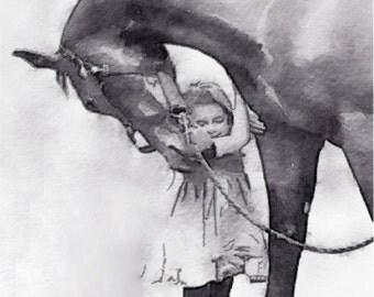 Girl, Horse, Love, Art Print