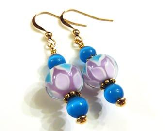 Blue Lampwork Earrings With Blue Cat Eye Beads, Blue Earrings, Blue Cat Eye Earrings, Lampwork Jewelry