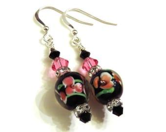 Black Pink & Green Floral Lampwork Earrings With Swarovski Crystals