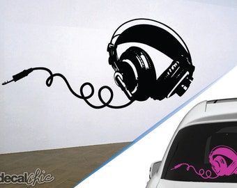 FREE SHIPPING Headphones Wall Decal Custom Size and Color