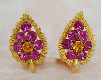 Vintage Clip-On Earrings with Pink and Orange Rhinestones