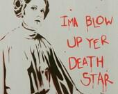 Star Wars Art Princess Leia Disney Princess Graffiti 11 x 14 Portrait Original Painting on Canvas Pop Art Street Art Inspired Portrait