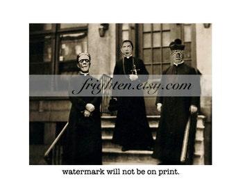 Halloween Decor, Monster Art Print, Mixed Media Art, Halloween Wall Art, Frankenstein, Wolfman, Dracula, Monster Priests