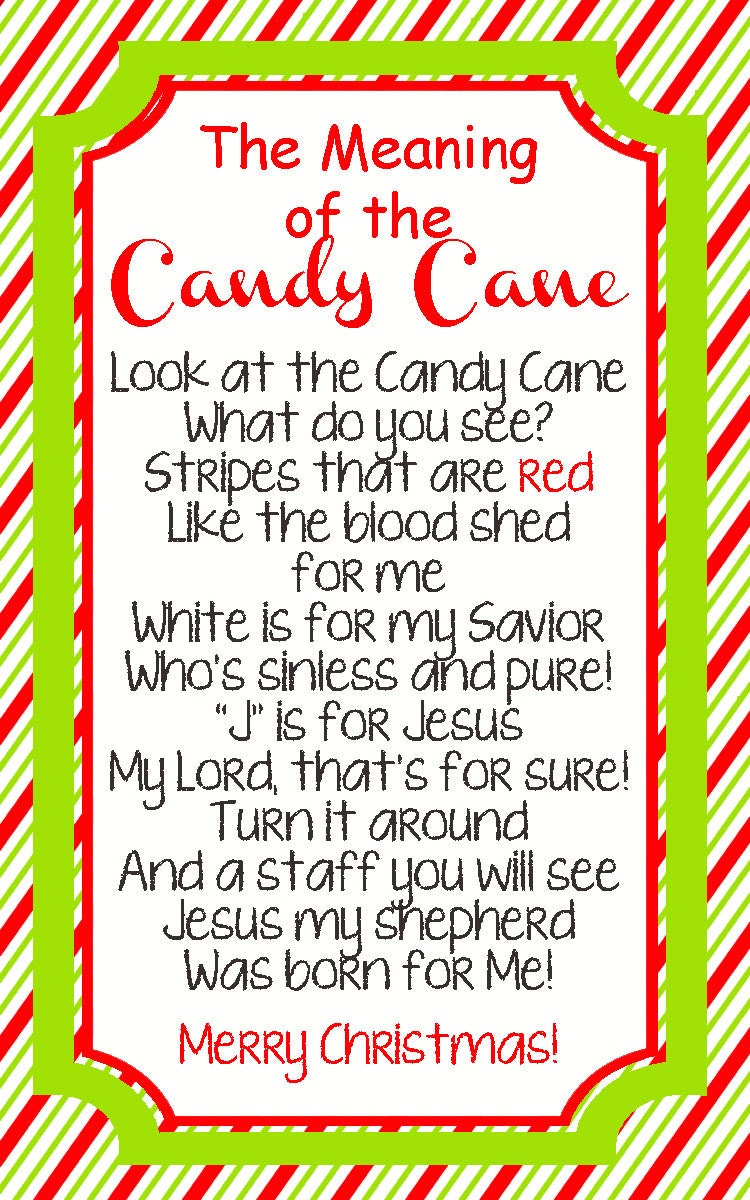 Revered image within the story of the candy cane printable