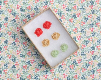 Sylvia Cabbage Rose Earring Studs Trio