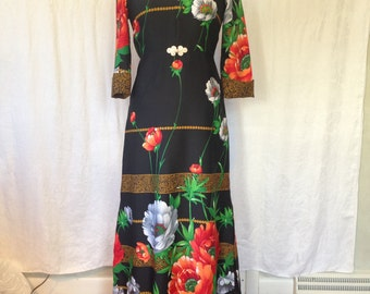 Long Sleeve Black Floral Maxi Dress / 1970s / small