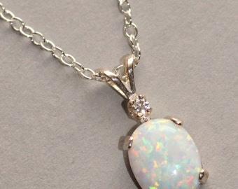 Opal & CZ Necklace,Opal Gemstone Pendant Necklace,October Birthstone,Synthetic Opal,Simple,Opal Gemstone Jewelry,Sterling Silver