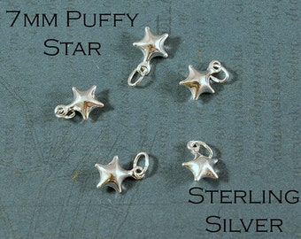 Sterling Silver Star - 3D Puffy Star Charm - 7mm - Sold Per Piece - CR5ST4