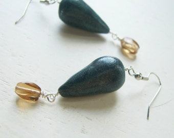 Blue Teardrop Earrings - Sparkling Blue, Champagne and Silver Dangles