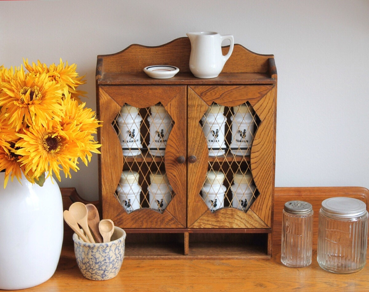 Superb img of Retro Wooden Spice Cabinet w/Wire Door Fronts by DukeCreekStudios with #C49307 color and 1200x952 pixels