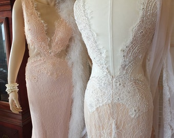 Vintage inspired wedding dress Alternative Lace dreams in White /Ivory or Palest Pink