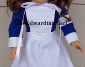 World War One nurse doll dress, blue, apron, cap, historical, Edith Cavell, for 18 inch play dolls such as American Girl, Made in USA