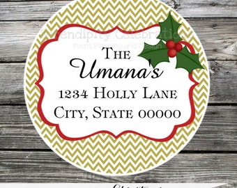 Set of 12 Personalized Printed Address Labels -Christmas -Return Address Labels -Sticker -Mailing Label -Holiday -Holly -Christmas Card