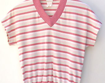 Mauve Striped 70's Retro Top