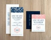 """Navy and Coral Lace Wedding Save the Dates, Elegant Navy Wedding, Art Deco Wedding Save the Date Cards - """"Deco & Lace"""" Save the Dates"""