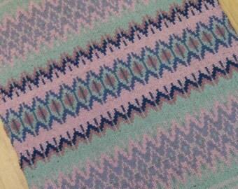 E635 Boundweave Rug, Lavender Stripe Floor or Wall Hanging, Zen Meditation Rug