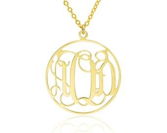 Monogram Necklace 1.0 inch- 14k Gold filled Personalized Necklace Monogrammed Necklace bridesmaids gift