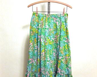 Vintage preppy floral midi skirt - size small - retro peasant skirt in preppy bright colors - Hunter Sportswear - retro 1970s summer skirt