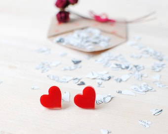 Red Heart Earrings | Alice In Wonderland | Nickel Free Studs