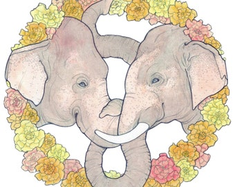 Elephant Wreath - Archival Print